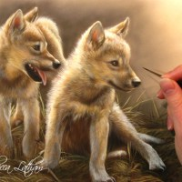 Wolf Puppies on the Easel