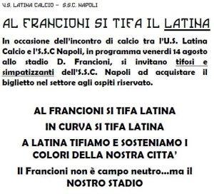 MANIFESTO-LATINA-NAPOLI-TIFOSI
