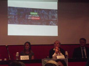 Da sinistra: Maria Elena Boschi, Rosa Giancola e Claudio Moscardelli