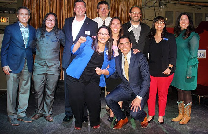 Pictured from left to right: Honorable Federico Peña, Rochelle Galindo Candidate for HD 50, Alex Valdez Candidate for HD 5, Julie Gonzales (Blue Blazer) Candidate for SD 34, Terry Martinez (White Shirt) Candidate for HD 18, Kerry Tipper Candidate for HD 28, Uriel Berrum (presenter), Robert Rodriguez Candidate for SD 32, Senera Gonzales-Gutierrez Candidate for HD 4, Speaker Crisanta Duran.