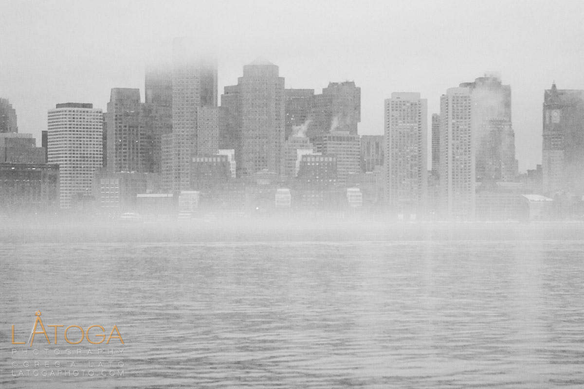 Downtown Boston as seen from across the harbor in winter (Black & White).