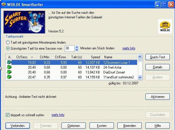 Eine späte Version des Smartsurfer: Anbieter je nach Uhrzeit auswählen und schon kamen merkwürdige Geräusche aus dem kleinen schwarzen Kasten neben dem Rechner