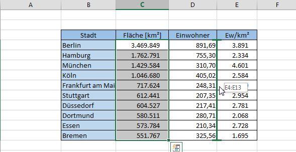 Excel zeigt mit einer Linie das Ziel der Verschiebung an.