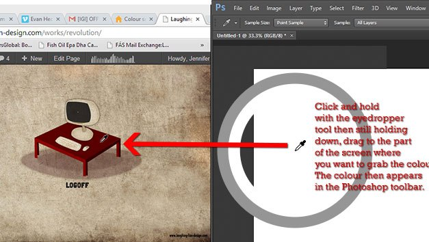How to pick a colour outside of Photoshop using the Eyedropper tool