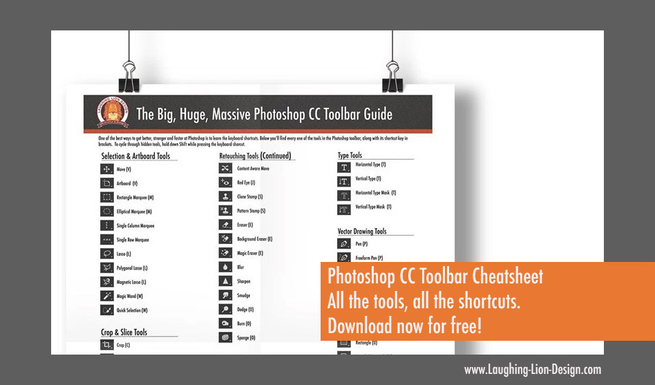 Get a free printable Photoshop Toolbar Cheatsheet Poster