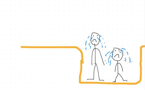 stick man parent & child stuck in hole - when our children feel sad