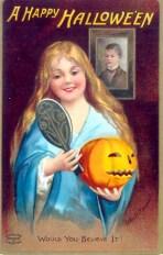 Eine typisch amerikanische Grußkarte der Künstlerin Ellen Clapsaddle zu Halloween aus dem Jahr 1904