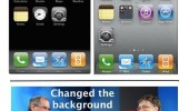A picture of iPhone's iOS from 2007 to 2012. 5 years of iPhone innovation. Changed background. Steve Jobs and Bill Gates laughing.