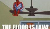 A 60's Spider-Man meme of him sitting on a ceiling fan blade. The floor is lava.