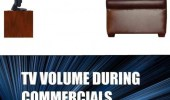 A rage comic. TV volume during a movie. Y u no louder?! TV volume during commercials.