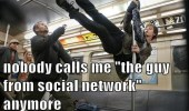 "A scene from The Amazing Spider-Man. Andrew Garfield as Peter Parker swinging in the air in a subway. Nobody calls me ""the guy from the social network"" anymore."