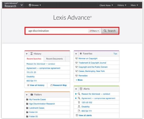 The new Lexis Advance has a simplified search bar and quick-access pods.