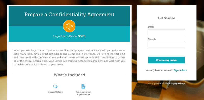 Confidentiality Agreement Project Screenshot