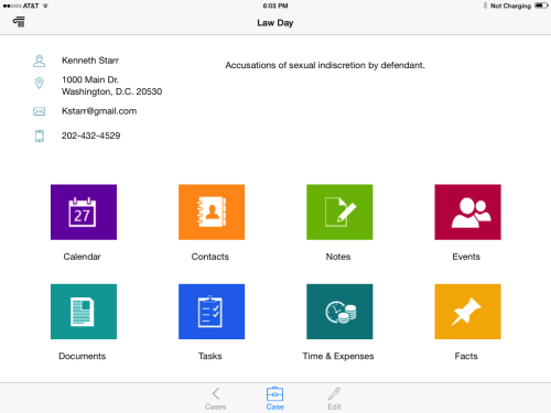 CaseManager's dashboard on the iPad.