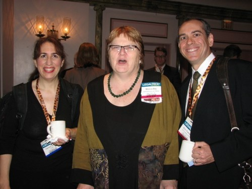 Monica at LegalTech 2008 flanked by bloggers Carolyn Elefant and Eric Turkewitz.