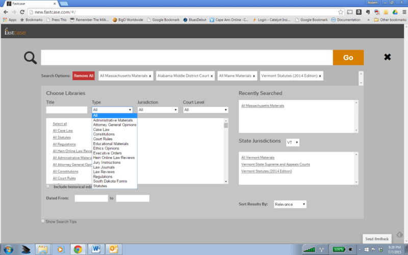 The advanced search page lets you search everything or mix and match types of materials, jurisdictions and courts.