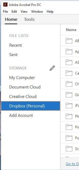 Open, edit and save Dropbox files within Acrobat.