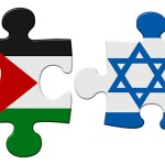 Israel and Palestine flag puzzle with the pieces separated on an isolated white background with a clipping path