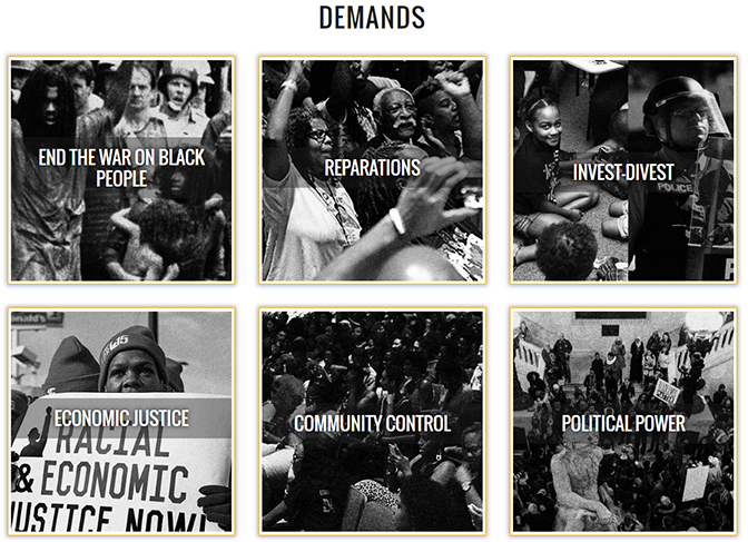 The demands of the Movement for Black Lives.