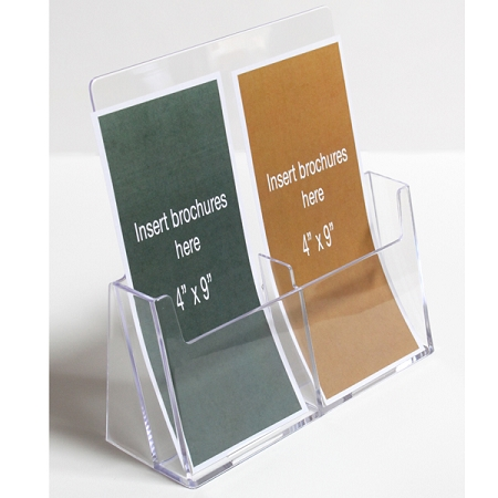 Clear Acrylic 2 Pocket Brochure Holder for 4 w Literature