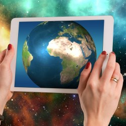 World on a tablet screen in space (making an impact)