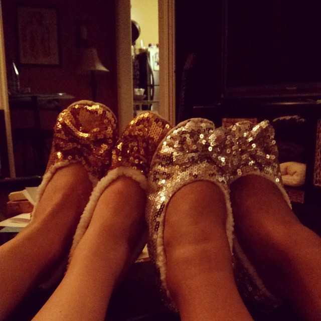 Matching grandma slippers... with sass.