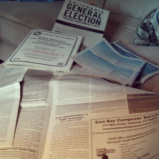 Being an informed voter is exhausting. Slowly but surely making my way through the mounds of paper involved in this year's elections.