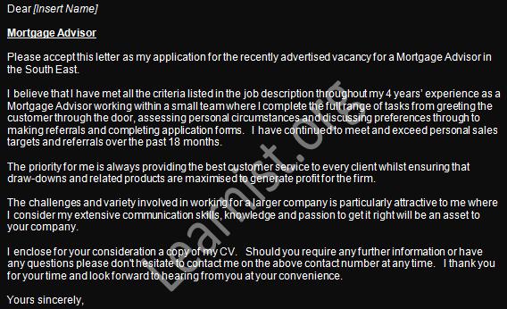 cover letter for mortgage advisor job