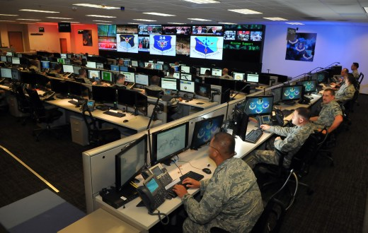 Personnel of the 624th Operations Center, located at Joint Base San Antonio, Texas, conduct cyber operations in support of the command and control of Air Force network operations and the joint requirements of Air Forces Cyber, the Air Force component of U.S. Cyber Command. (William Belcher/U.S. Air Force)
