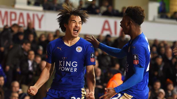 LONDON, ENGLAND - JANUARY 10:  Shinji Okazaki (L) of Leicester City celebrates with teammate Demarai Gray after scoring his team's second goal during The Emirates FA Cup third round match between Tottenham Hotspur and Leicester City at White Hart Lane on January 10, 2016 in London, England.  (Photo by Michael Regan/Getty Images)