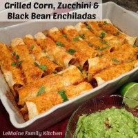 Grilled Corn, Zucchini & Black Bean Enchiladas