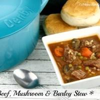 Beef, Mushroom & Barley Stew {Plus my new Denby Cast Iron Casserole}