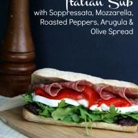 Italian Sub with Soppressata, Mozzarella, Roasted Peppers, Arugula & Olive Spread