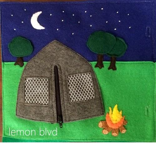 Camping Quiet Book Page - lemon blvd