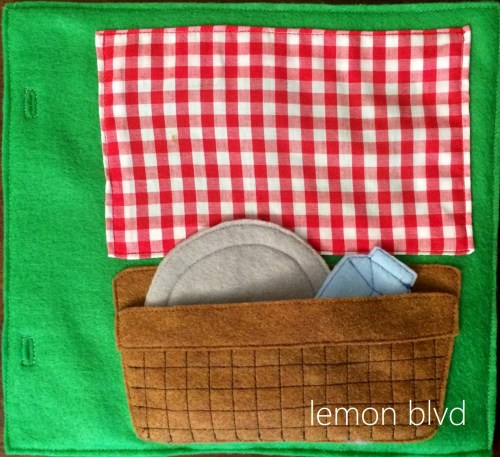 Picnic Quiet Book Page - food tucks into the basket for storage - lemon blvd