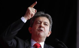 Jean-Luc Melenchon, leader of France's Parti de Gauche political party and the former candidate for the Front de Gauche political party for the 2012 French presidential election, holds a rally in Paris