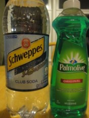 club soda and Palmolive