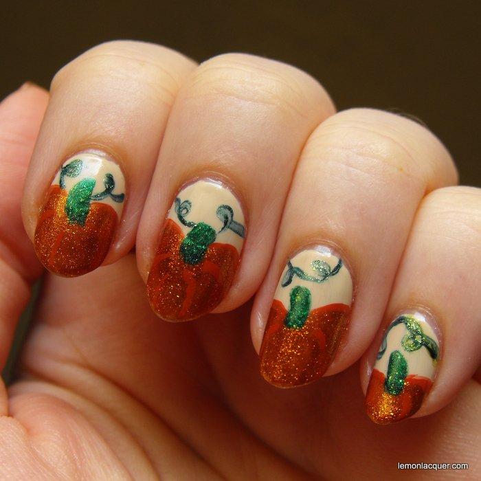 pumpkin nail art in shimmery orange
