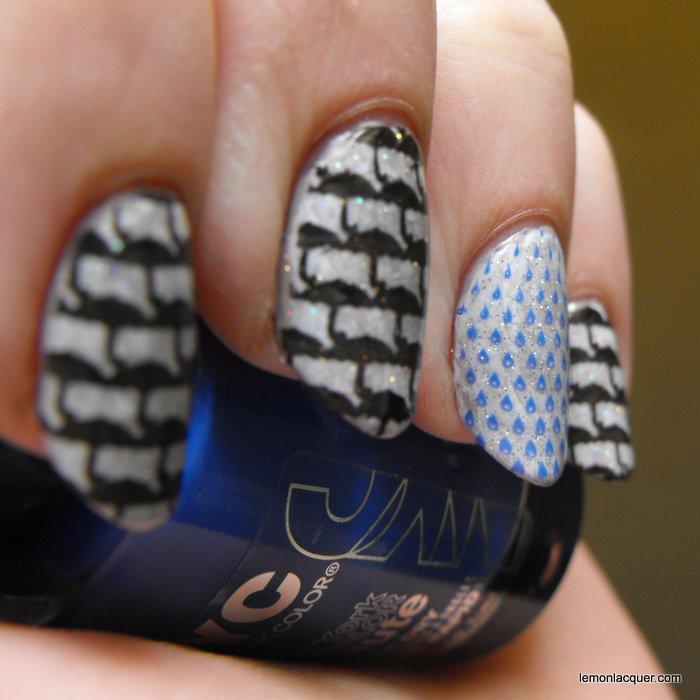 Angled shot of rainy day nail stamping