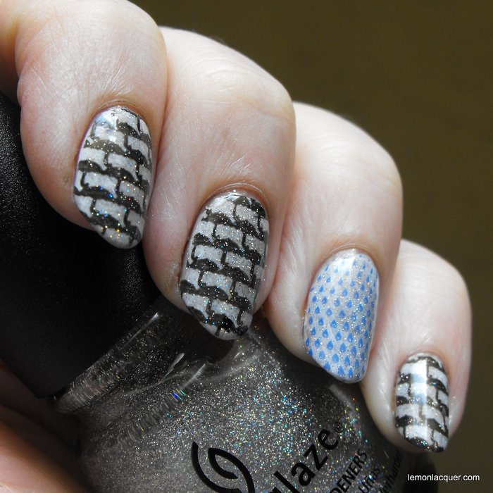 Rainy day nail stamping with fairy dust over top