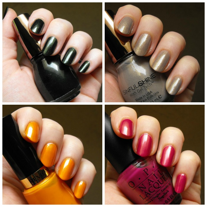 swatches - SinfulShine, Revlon, OPI - collage