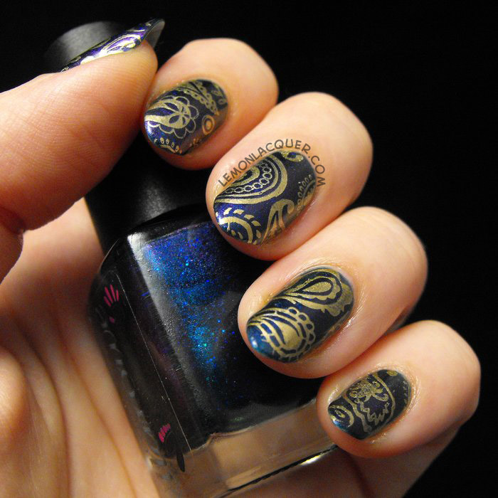 Midnight in Montana base with Bold Gold stamping in paisley