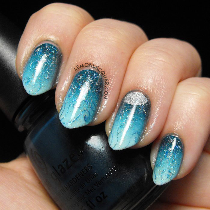 Perigean Tide Gradient & Stamped Nail Art