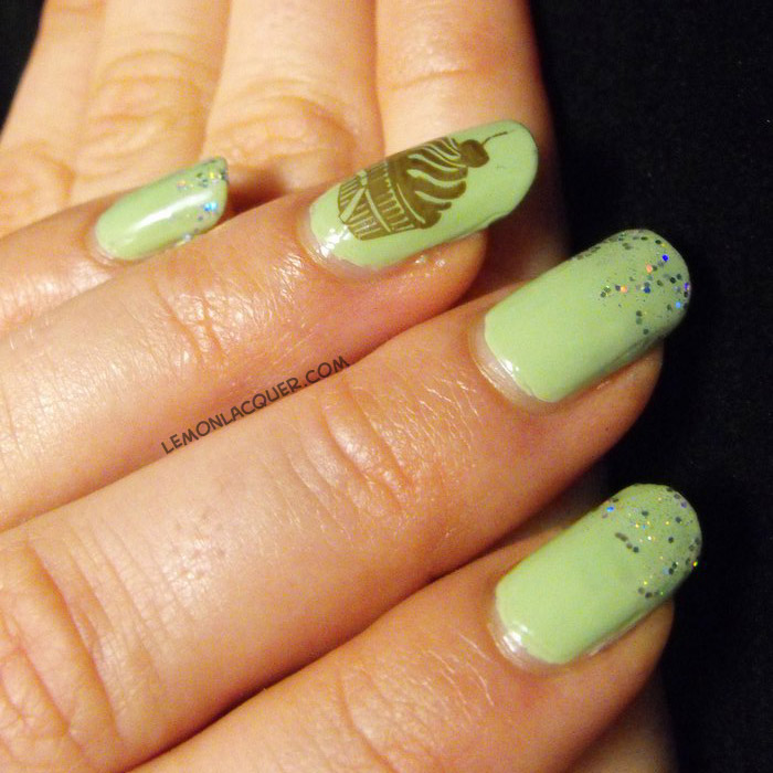 Cupcake nail stamping with glitter tips on pale green base