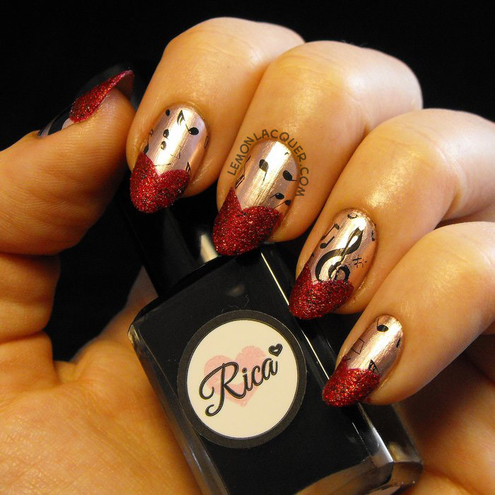 Black music stamping over rose copper with red textured sweetheart tips