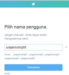 Pilih Username yang akan digunakan