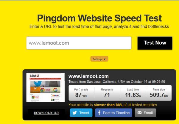 Hasil test dengan Pingdom Tools