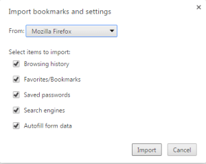 import chrome bookmark