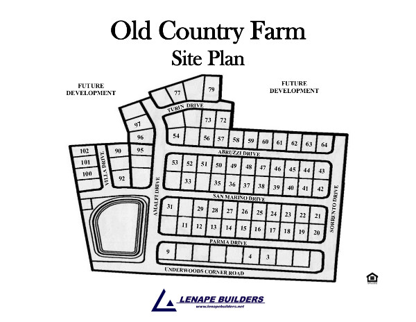 Community site plan old country farm lenape builders for Share builders plan
