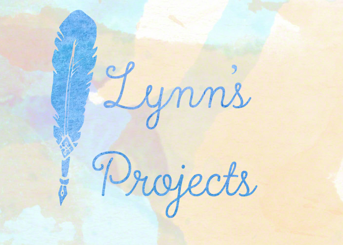 Lynn's Projects. The text 'Lynn's Projects' next to a big quill. Updates on what I'm working on.